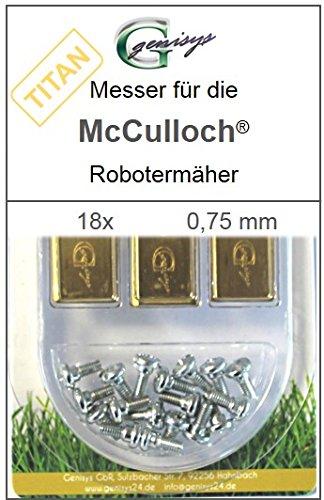 Genisys 18 Titan Messer Ersatzmesser Klingen 0,75mm für McCulloch Rob R600 R1000 Mc Culloch