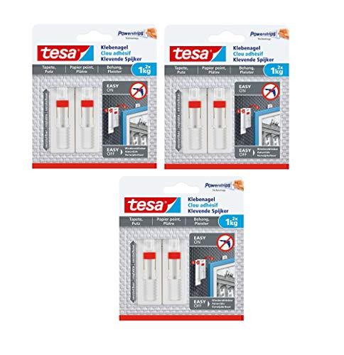 tesa Verstellbarer Klebenagel (für Tapeten und Putz, Höhenverstellbarer, selbstklebender Wandnagel (1 kg | 6 Nägel)