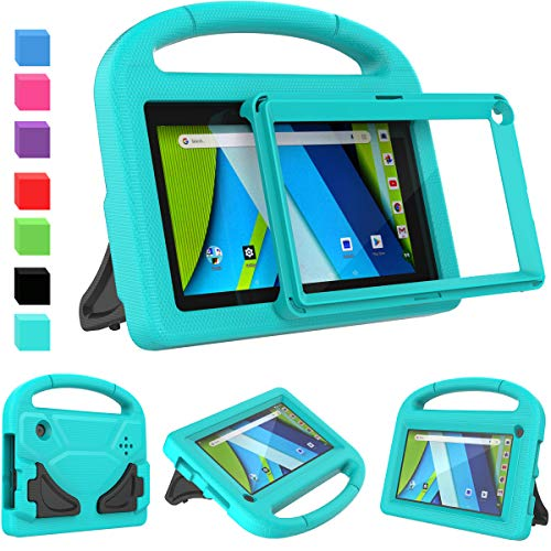 AVAWO Kids Case for RCA Voyager 7inch Tablet (I II III)- with Built-in Screen Protector, Shockproof Light Weight Kids Case for 7inch RCA Voyager 1/2/3 Voyager Pro 7' Android Tablet, Turquoise