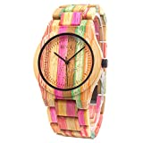 Bewell Wooden Watch for Men Analog Quartz Light Handmade Bamboo Wrist Watches with Colorful Strap