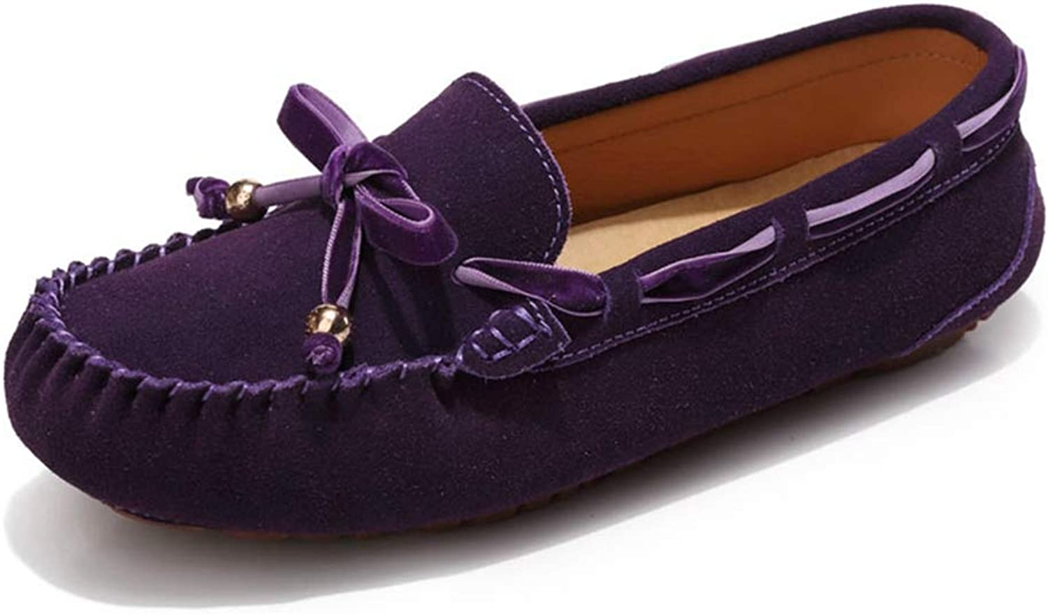August Jim Women Loafers shoes,No-Slip Suede Leather shoes Ladies Moccasin Flats shoes