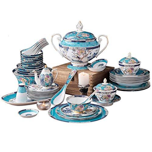 Set di stoviglie per ciotole di piatti, set per la cena in ceramica di alta qualità da 50 pezzi, ciotola, piatto, set di combinazione di porcellana per zuppiera