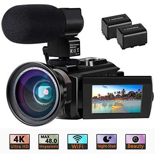 Videokamera 4K Camcorder Ultra HD Wi-Fi Digitalkamera 48MP IR-Nachtsicht 16X Digitalzoom Recorder 3,0