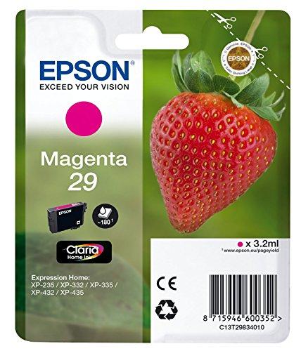 Epson Original 29 Tinte Erdbeere, XP-235 XP-332 XP-335 XP-432 XP-435 XP-245 XP-342 XP-345 XP-442 XP-445 XP-247 XP-257 XP-255 XP-352 XP-355 XP-452 XP-455, (magenta)