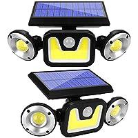 2-Pack Teilybao Motion Sensor 3 Heads Adjustable Wireless Solar Lights