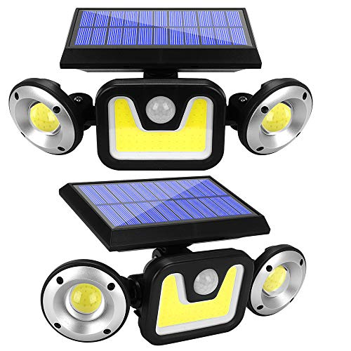 2 Pack Solar Lights Outdoor with Motion Sensor, 83 LED COB Flood Lights,3 Heads Adjustable Wireless Security Light,270° Wide Angle IP65 Waterproof Decorative Light for Garage Pathway Porch Patio Yard