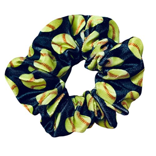 Softball Scrunchie, Softball Hair Accessories, Girls Softball Premium Velvet Scrunchie, Gift for Softball Player and Softball Teams (Black)