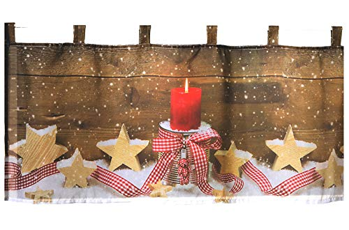 heimtexland ® Scheibengardine Weihnachten 45x120 cm mit Fotodruck Hüttenstil Fensterdeko Landhaus rot Weihnachtsdeko Weihnachtsgardine Typ590