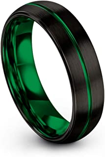 Tungsten Carbide Wedding Band Ring 6mm for Men Women Green Red Fuchsia Copper Teal Blue Purple Black Center Line Dome Black Brushed Polished