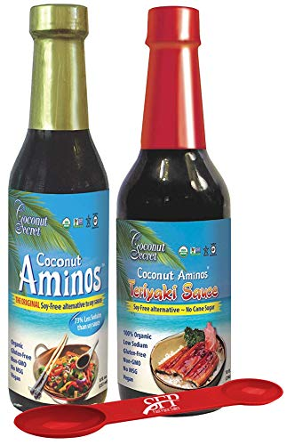 Coconut Secret Variety Pack: (1) COCONUT AMINOS SOY FREE SAUCE, 8 Oz. And (1) GLUTEN FREE TERIYAKI SAUCE 10 Oz., Great for Chicken Marinade, Stir-fry and Asian Food BONUS MEASURING SPOON INCLUDED.