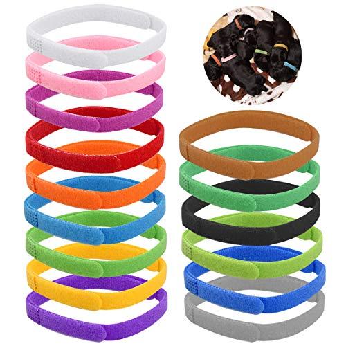 NATUCE 15 Piezas Collares de Identificación de Cachorros, Collares Suave para Cachorros Recién Nacidos y Gatitos Recién Nacidos,15 Colores, Ajustable (L-35cm)