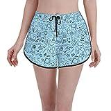 Pantalones cortos de la tabla Comunicación e Internet sin costuras fondo de las mujeres traje de baño casual traje de baño de verano de secado rápido con cordón deportivo pantalones cortos de natación
