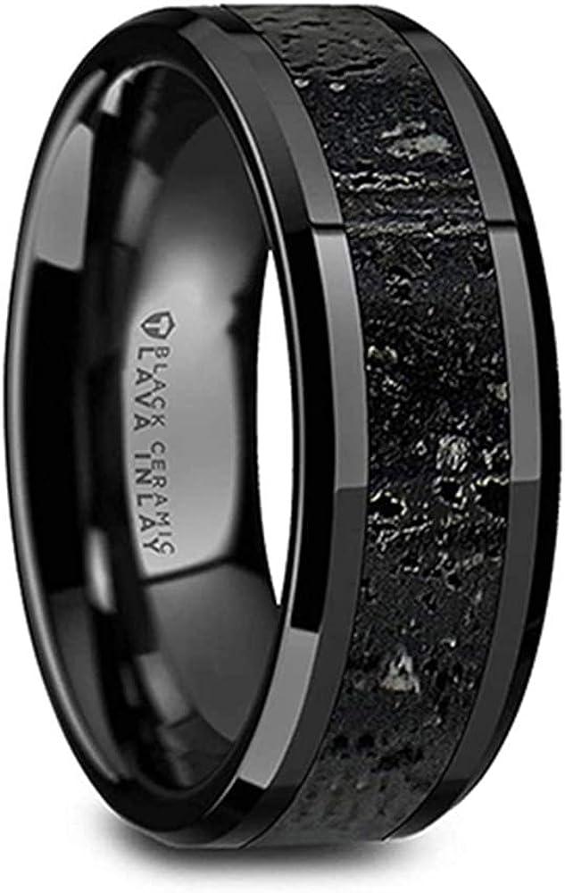 Thorsten Vesuvius Men's Black Ceramic Wedding Ring Band with Black & Gray Lava Rock Stone Inlay & Polished Beveled Edges - 8mm