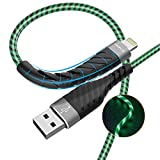 [Apple MFi Certified ]LED iPhone Charger Cable, AOLIPLUS 6ft Lightning Cable, 2.4A Light Up Fast Charging Cord with iPhone 11 Pro Max X XR XS 8 7 6 6S SE Plus iPad iPod(Green)