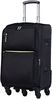 Cabin Luggage Trolley Case Lightweight Travel 4 Wheels Trolley,Oxford Cloth Large Capacity Suitcase (Color : Black, Size : 20-inch)