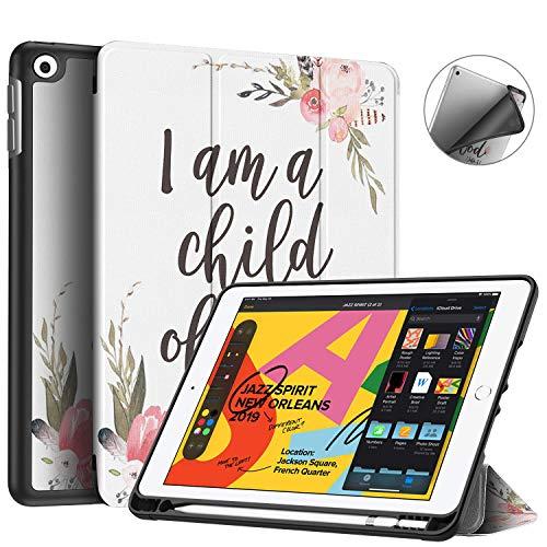 iPad 7th Generation Case,iPad 10.2 Case 2019,BOSLIVE Bible Verse 1 John 3:1 Pink Flower Slim Stand Folio Case with Pencil Holder,Auto Sleep/Wake Back Smart Soft TPU Case for iPad 7th 10.2' 2019