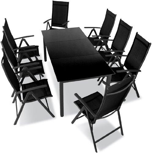 Salon de de Jardin 9pièces en aluminium avec table en verre, meubles de jardin en aluminium confortables Gris foncé