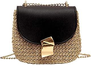 TOOGOO Straw Shoulder Bag Small Flap Crossbody For Women Woven Bag Female Retro Beach Rattan Bag Chain Wicker(Brown)