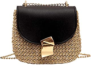 TOOGOO Straw Shoulder Bag Small Flap Crossbody For Women Woven Bag Female Retro Beach Rattan Bag Chain Wicker(Brown)