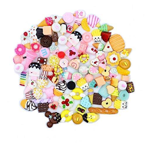BYFRI 30pcs / Lot Mignon Doux Squishy Foods Matériel Mix Licornes Kawaii Food Résine Flatback Téléphone Portable Scrapbooking Décoration
