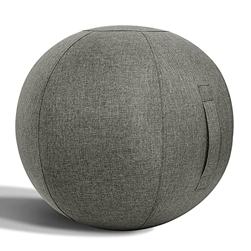 Nanspring Balance Training Exercise Ball Pilates Yoga Sitting Ball Chair for Office Home Stability Fitness Ergonomic Posture Activating Balance Ball Chair with Handle & Cover, Gray