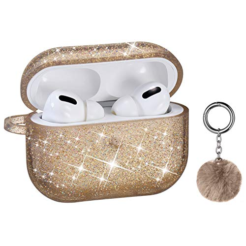 Airpods Pro Case, DMMG Airpods Case Cover Silicone Skin, AirPods Protective Cute Bling Glitter Case with Fluff Ball Keychain, Scratch Proof and Drop Proof for Apple Airpods Pro (Yellow God)