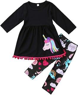 VIKITA Toddler Girl Winter Unicorn T-Shirt Pants Set Cotton Long Sleeve Little Girls Clothes GZSH005 Purple 45 Years