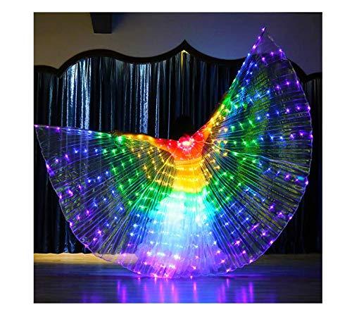 SUREH LED-Lichter Bauchtanz-Flügel Isis-Flügel mit flexiblem Stab beleuchtet Schmetterlingsflügel leuchtende Leistung Kleidung für Erwachsene Karneval Bühne Halloween Weihnachten Party