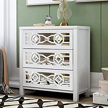 SSLine Elegant Wood 3 Drawer Dresser with Mirrored Carved Pattern Modern Antique White Finish Bedroom Nightstand Stylish Storage Drawer Chest Organizer for Bedroom Living Room Hallway -Fully Assembled