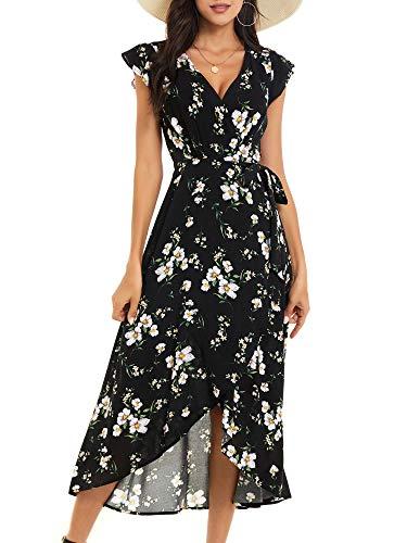 ZABERRY Long Maxi Floral Split Flowy V-Neck Wrap Waist Dress for Women Summer(Black Floral,X-Large)