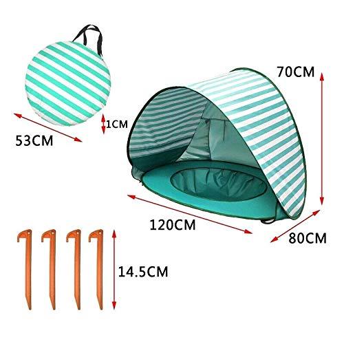 Pop-Up-Strandzelt, automatischer UV-Schutz, tragbarer Sonnenschutz, Baldachin mit Strandpool für Familie, Garten, Camping, Picknick, Baby, Strand, Zelt mit Aufbewahrungstasche Grün gestreift
