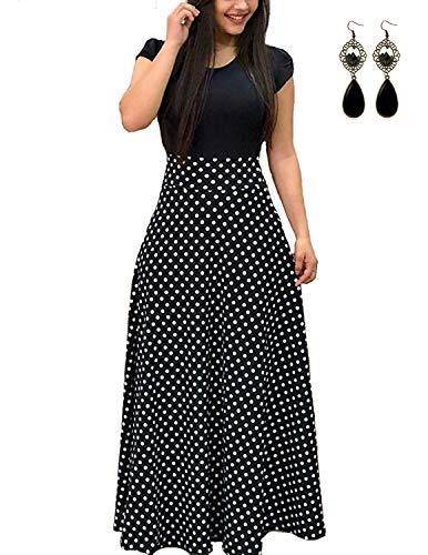 UUAISSO Dam långa ärmar lång med blomtryck hög midja elastiska strandklänningar maxiklänningar
