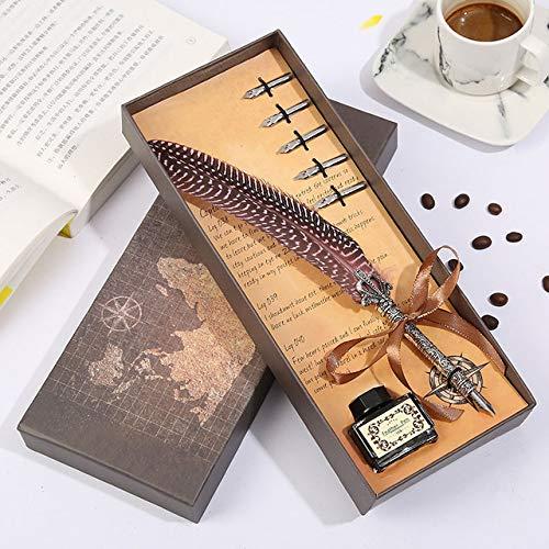 Nieuwe Ontwerp Veer Pen Parel Kroon + Inkt + Koffie Box briefpapier Set RVS Nib Student Schrijven Veer Pe roze