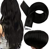 Full Shine Tape in Extensions Remy Human Hair 12 Inch Short Hair Glue on Human Hair 1B Off Black Glue in Double Sided Tape Real Hair 20 Pieces Soft Hair Silky Straight 30 Grams