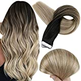 Fshine 18 Inch Tape In Human Hair Extensions Balayage Ombre Hair Extensions Black Roots Color 1B Fading To 8 And 22 Blonde Glue In Human Hair 20 Pcs Adhesive Human Hair Extensions 50 Grams