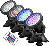 Lychee Waterproof Underwater Spot Lights,Remote Control Amphibious Change Color Submersible Lights for Garden Pond Aquarium Courtyard Swimming Pool Fountain Fish Tank