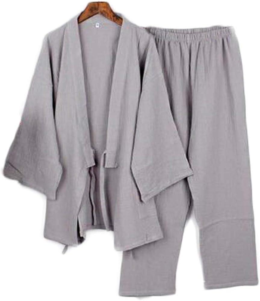 Japanese Style Two-Piece Suit Men Thin Cotton Bathrobe Pajamas Kimono Bathrobes Sleepwear-F15 Gray