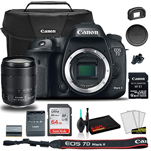Canon eos 7d mark ii dslr camera with 18-135mm f/3. 5-5. 6 is usm lens & w-e1 wi-fi adapter (9128b135) + canon eos bag + sandisk ultra 64gb card