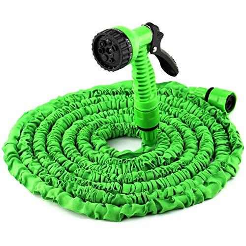 DDLN Manguera de jardín Flexible con Cabezal de Ducha y Adaptador, Manguera de Agua Ampliable automática para la Limpieza del automóvil, irrigación del jardín, regando Las Flores,50ft