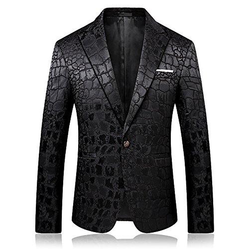 SZRXKJ Männer 3D Print Party Kleid Anzug Jacken britischen Stil Slim Fit Krokodil Muster Anzug Jacken