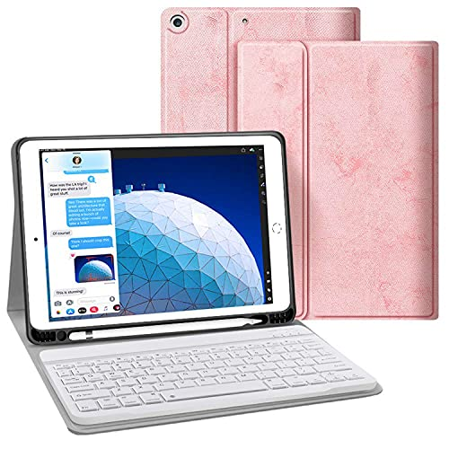 LGQ Funda con Teclado para iPad Mini 5 / Mini 4 - Funda Inteligente Bluetooth Inalámbrica con Tapa De 180 ° [Auto Sleep/Wake] para Apple iPad Mini 5 2019 (5 Generación) / iPad Mini 4 2015,Rosado