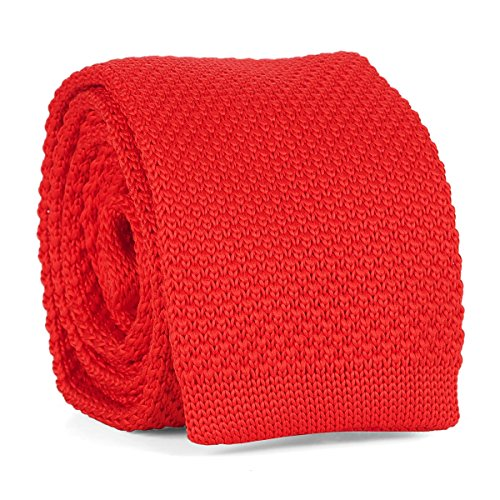 Cravate Tricot Rouge - Cravate Maille Tendance