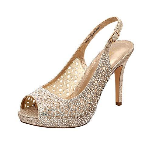 DREAM PAIRS Women's Invest High Heels Platform Sexy Dress Rhinestones Peep Toe Pumps Shoes, Gold Glitter, Size 7