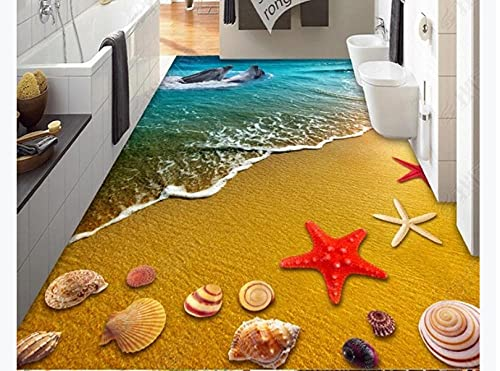 Piso 3D Vinilo personalizado Wallpaperseaside Seashell Starfish Dolphins 3D Stereo Floor Brick Tiles-200 * 140Cmcustomized 120D Oil Painting