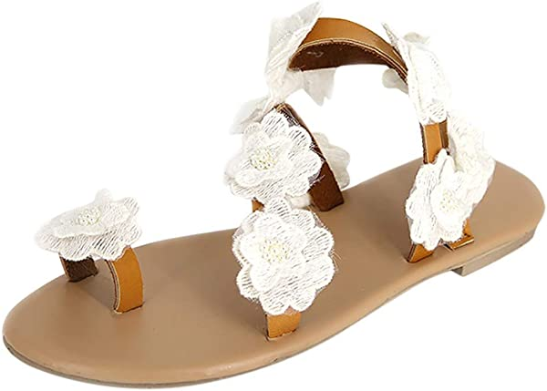 ZOMUSAR Sandals Slippers Fashion Womens Toe Flower Flat Bottom Shoes Summer Sandals Open Toe Rome Sandals