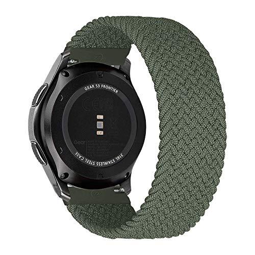 MroTech Kompatibel mit Samsung Gear S3 Frontier/Galaxy Watch3 45mm/Galaxy Watch 46mm Armband 22mm Uhrenarmband Nylon Ersatzarmband für Huawei Watch GT/GT2 46 mm Band Elastic Woven Loop-Armeegrün/S