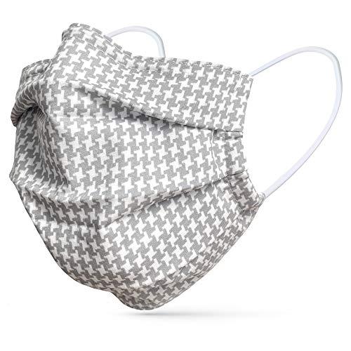 tanzmuster ® Gesichtsmaske für Erwachsene - Stoffmaske mit Nasenbügel und Filtertasche - Alltagsmaske waschbar - 100% Baumwolle OEKO-TEX Standard 100. Hauchdünn Hahnentritt grau M/L