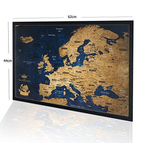 Europakarte Pinnwand mit farbigen Stecknadeln - Bonus 100 Pins, Abenteuer Karte mit Rahmen, Personalisierte Karten mit Originalfarben, Hergestellt in der EU, 44x62 cm, Natürlicher Holzrahmen