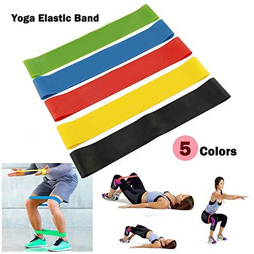 Dazone 5er Set Fitnessbänder Sport- Fitnessband Widerstandsband Gymnastikband Gummiband für Fitness Crossfit Pilates Yoga und Physiotherapie