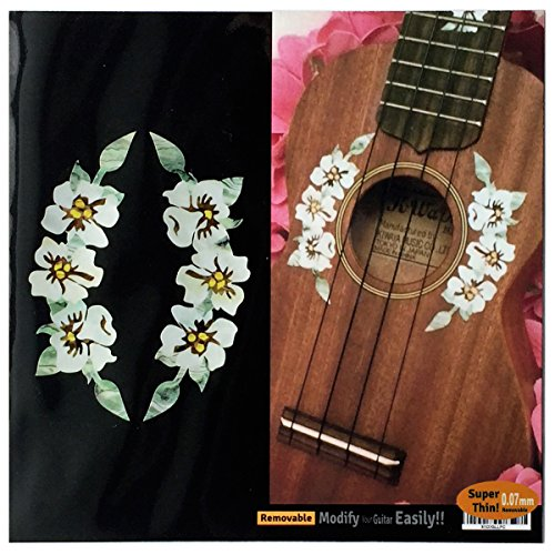 Hibiscus Flowers Soundhole Rosette//Purfling Inlay Sticker Decal for Ukuleles